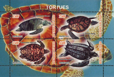 Turtle Marine Life Chelonia Mydas Souvenir Sheet of 4 Stamps Mint NH