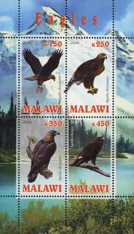 Malawi Eagle Bird Mountain Nature Souvenir Sheet of 4 Stamps Mint NH