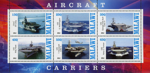 Malawi Aircraft Carrier Ocean Souvenir Sheet of 6 Stamps Mint NH
