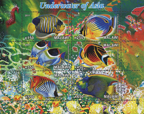 Malawi Underwater Of Asia Fish Marine Fauna Souvenir Sheet of 6 Stamps Mint NH