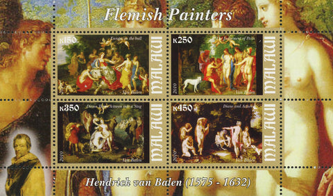 Malawi Flemish Painters Hendrick van Balen Souvenir Sheet of 4 Stamps Mint NH