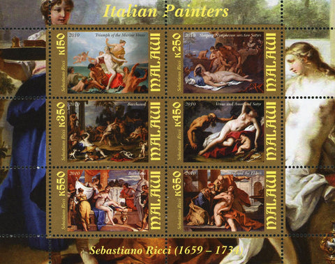 Malawi Italian Painters Sebastiano Ricci Souvenir Sheet of 6 Stamps Mint NH