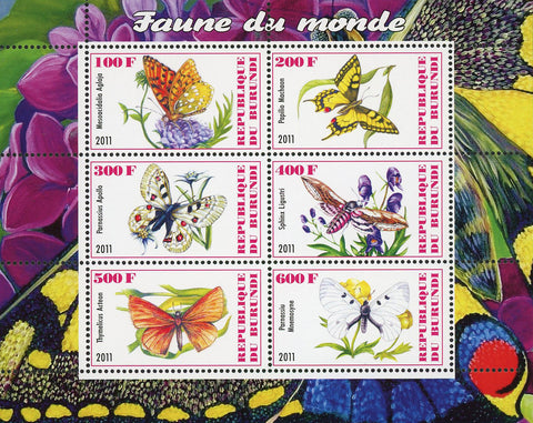 Butterfly Insect Fauna Of The World Souvenir Sheet of 6 Stamps Mint NH