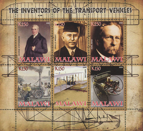 Malawi The Inventors Of The Transport Vehicles Souvenir Sheet of 6 Stamps Mint N