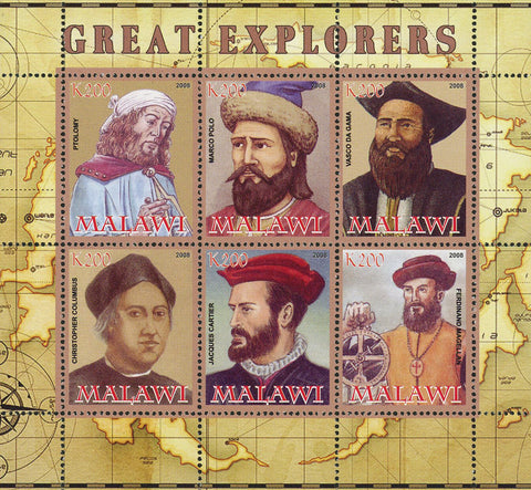 Malawi Great Explorers Map World Souvenir Sheet of 6 Stamps Mint NH