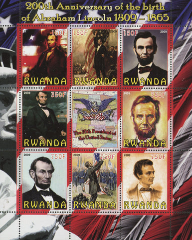 Abraham Lincoln President USA Souvenir Sheet of 8 Stamps Mint NH