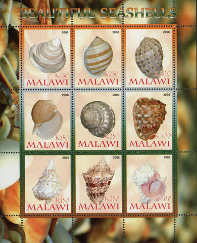 Malawi Beautiful Seashell Ocean Life Souvenir Sheet of 9 Stamps Mint NH