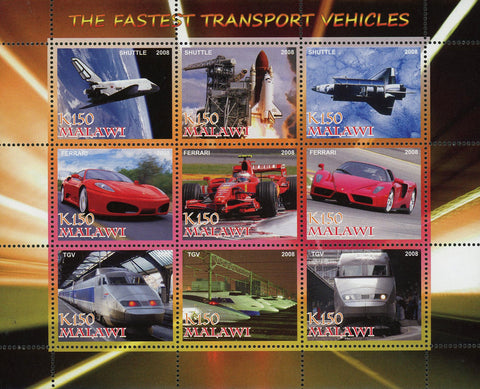 Malawi The Fastest Transport Vehicles Souvenir Sheet of 9 Stamps Mint NH