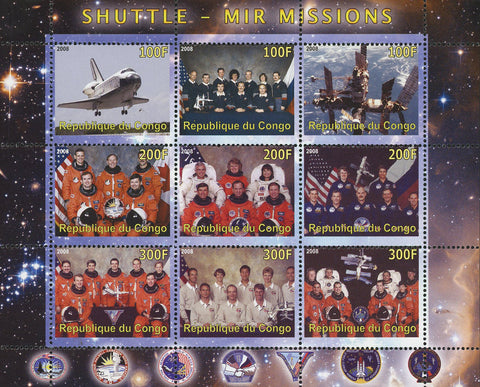 Congo Shuttle Mir Missions Space Astronaut Souvenir Sheet of 9 Stamps Mint NH