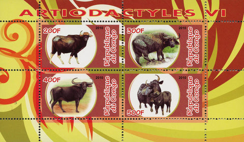 Congo Artiodactyla Wild Animal Bison Bovidae Souvenir Sheet of 4 Stamps Mint NH
