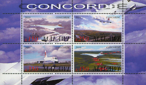 Congo Concorde Cloud Airplane Transportation Souvenir Sheet of 4 Stamps Mint NH