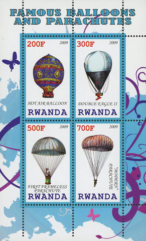 Famous Balloons And Parachutes Souvenir Sheet of 4 Stamps Mint NH