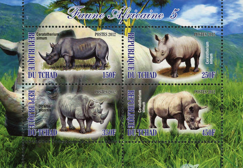 African Fauna Rhinoceros Rhino Wild Animal Souvenir Sheet of 4 Stamps MNH