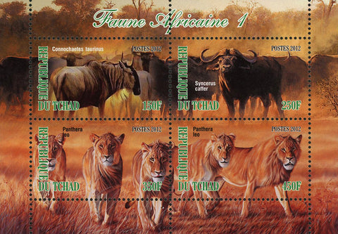 African Fauna Bison Lion Panthera Leo Wild Animal Sov. Sheet of 4 Stamp MNH