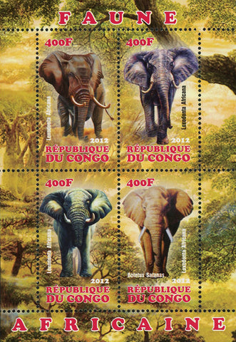 Congo African Fauna Elephant Wild Animal Souvenir Sheet of 4 Stamps Mint NH