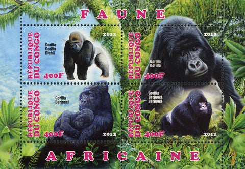 Congo African Fauna Gorilla Wild Animal Souvenir Sheet of 4 Stamps Mint NH