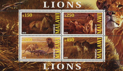 Malawi Lion Panthera Leo Wild Animal Fauna Souvenir Sheet of 4 Stamps Mint NH