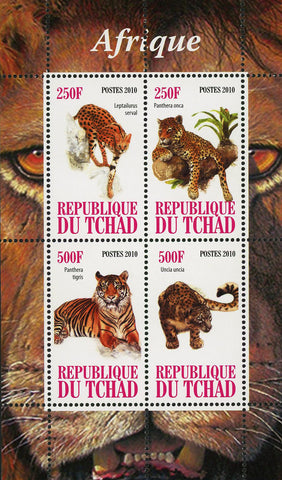 Africa Tiger Panthera Wild Animal Fauna Souvenir Sheet of 4 Stamps Mint NH