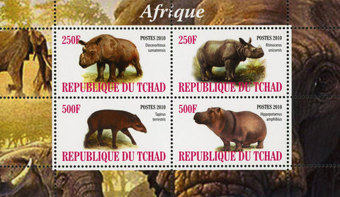 Africa Rhino Hippopotamus Wild Animal Souvenir Sheet of 4 Stamps Mint NH