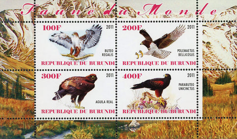 Fauna Of The World Bird of Prey Souvenir Sheet of 4 Stamps Mint NH