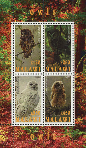 Malawi Owl Bird Wild Tree Souvenir Sheet of 4 Stamps Mint NH