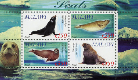 Malawi Seal Ocean Life Marine Fauna Souvenir Sheet of 4 Stamps Mint NH