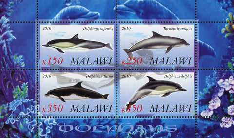 Malawi Dolphin Ocean Life Marine Fauna Souvenir Sheet of 4 Stamps Mint NH