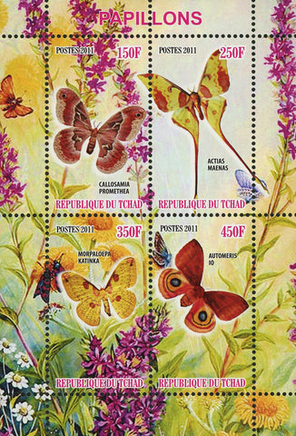 Butterfly Flower Insect Nature Souvenir Sheet of 4 Stamps Mint NH
