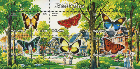 Malawi Butterfly Flower Insect Nature House Souvenir Sheet of 6 Stamps Mint NH