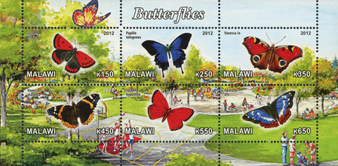 Malawi Butterfly Insect Nature Park Souvenir Sheet of 6 Stamps Mint NH