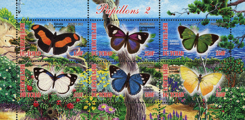 Butterfly Insect Nature Beach Ocean Souvenir Sheet of 6 Stamps Mint NH