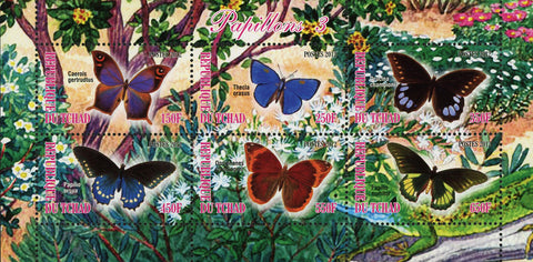 Butterfly Insect Nature Beach Flower Plant Souvenir Sheet of 6 Stamps MNH