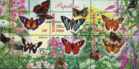 Butterfly Insect Nature Beach Flower Souvenir Sheet of 6 Stamps Mint NH