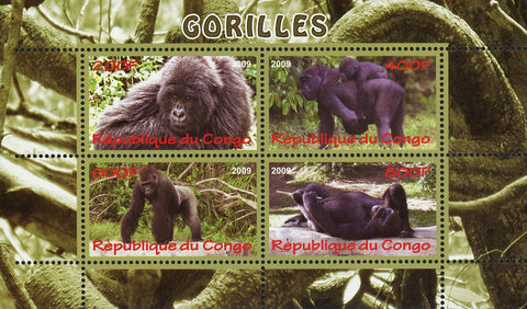 Congo Gorilla Primate Jungle Wild Animal Souvenir Sheet of 4 Stamps Mint NH