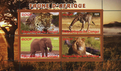 Congo Fauna Of Africa Wild Animal Lion Elephant Giraffe Souvenir Sheet Mint NH