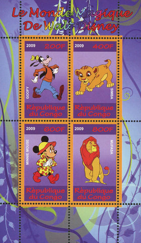 Congo Walt Disney Magic World Minnie Mouse Goofy Simba Souvenir Sheet of 4 Stamps Mint NH