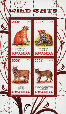 Wild Cats Wild Animal Lynx Rupus Souvenir Sheet of 4 Stamps Mint NH