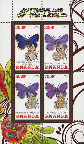 Butterfly Of The World Plebejus Pylaon Insect Souvenir Sheet of 4 Stamps MNH