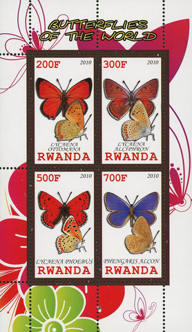 Butterfly Of The World Lycaena Phoebus Insect Souvenir Sheet of 4 Stamps MNH