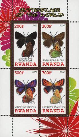 Butterfly Of The World Lycaena Dispar Insect Souvenir Sheet of 4 Stamps MNH