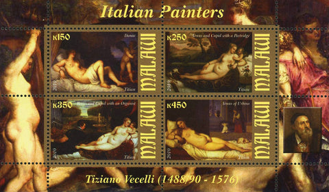 Malawi Italian Painter Tiziano Vecellio Titian Art Souvenir Sheet of 4 Stamps Mi
