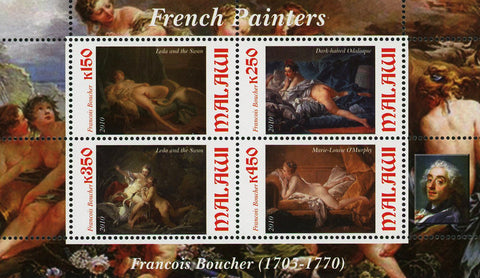 Malawi French Painter Francois Boucher Art Souvenir Sheet of 4 Stamps Mint NH