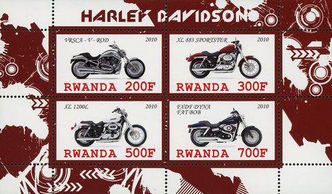 Harley Davison Motorcycle Transportation Souvenir Sheet of 4 Stamps Mint NH