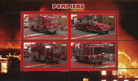 Congo Firefighter Truck Transportation Souvenir Sheet of 4 Stamps Mint