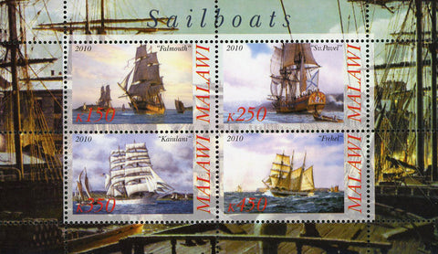 Malawi Sailboat Ship Ocean Marine Transportation Souvenir Sheet of 4 Stamps Mint