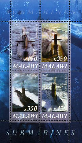 Malawi Submarine Ocean Marine Transportation Souvenir Sheet of 4 Stamps Mint NH