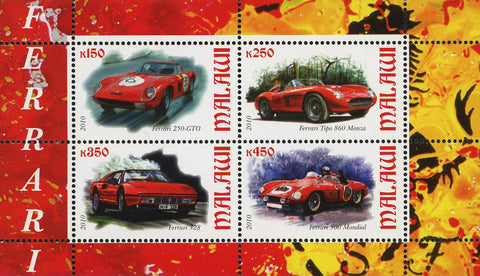 Malawi Ferrari High Speed Transportation Souvenir Sheet of 4 Stamps Mint NH