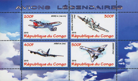 Congo Legendary Airplanes Transportation Souvenir Sheet of 4 Stamps Mint NH