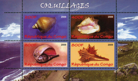 Congo Seashore Wildlife Seashell Marine Life Souvenir Sheet of 4 Stamps Mint NH