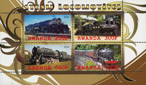 Steam Locomotives Train Transportation Souvenir Sheet of 4 Stamps Mint NH